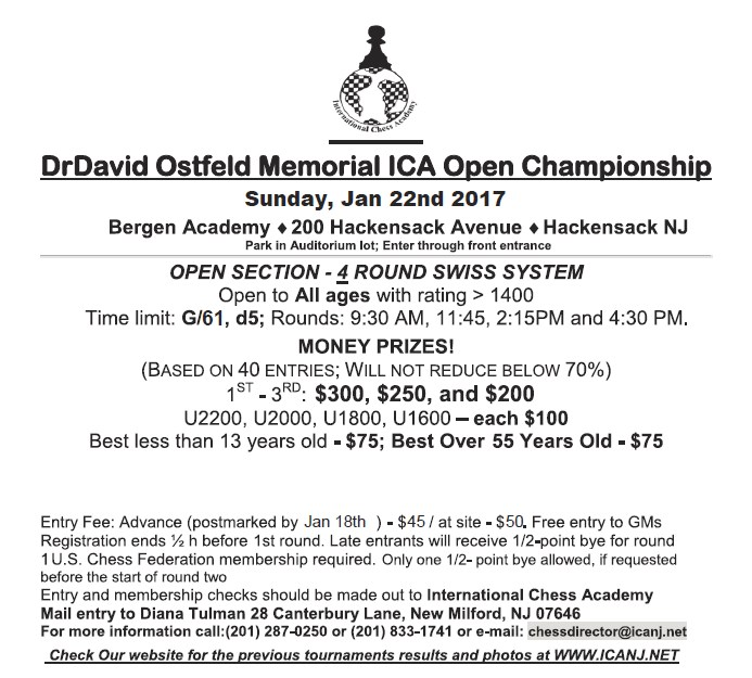 ICA Chess academy in NJ :2017 Dr David Ostfeld Memorial ICA Open Championship